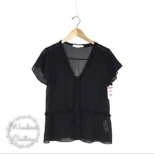 FRAME Flutter Sleeve Sheer V Neck Button Blouse